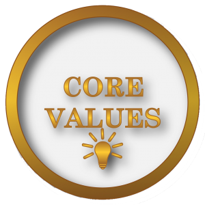 image of circle that says Core Values