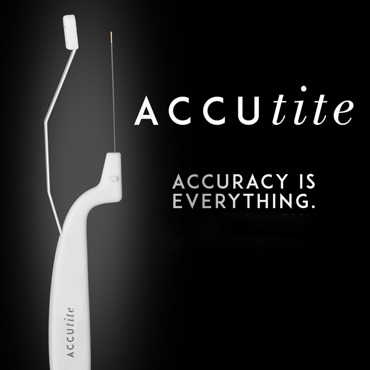 Image of Accutite showing two-prong probe used for tightening small or hard to reach areas. Since Accuracy is everything, talk with Chicago plastic surgeon board certified Lawrence Iteld, MD.