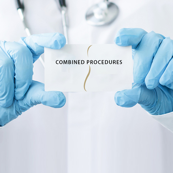 Image of doctor in surgical gloves holding card saying Combined Procedures, indicating that at Chicago's Iteld Plastic Surgery, you can have more than one procedure performed at a time to give you great results